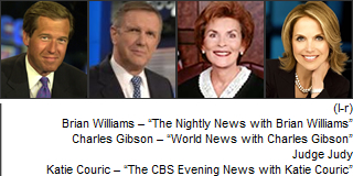 Brian Williams, Charles Gibson, Judge Judy,  Katie Couric